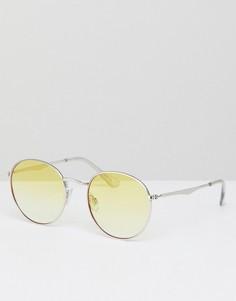 Круглые солнцезащитные очки в серебристой оправе с желтыми стеклами Jeepers Peepers - Желтый