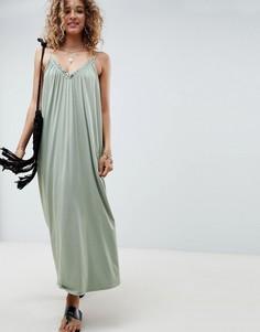 Платье макси со сборками ASOS DESIGN - Зеленый