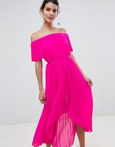Плиссированное платье макси с асимметричным подолом Ted Baker - Розовый