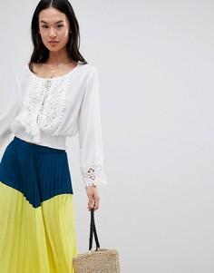 Блузка с длинными рукавами и вышивкой ришелье Boohoo - Белый