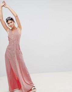 Платье макси на пуговицах в полоску Boohoo - Красный