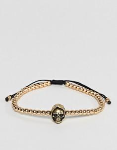 Браслет с подвеской-черепом Seven London - Золотой
