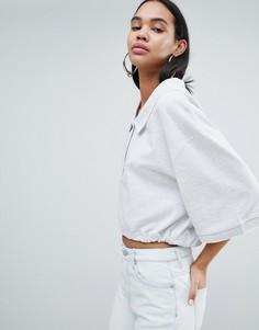 Укороченная свободная футболка-поло серого цвета Weekday - Серый
