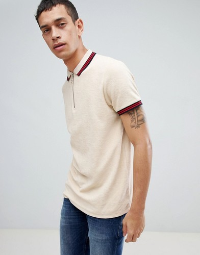 Махровая футболка-поло на молнии ASOS DESIGN - Бежевый