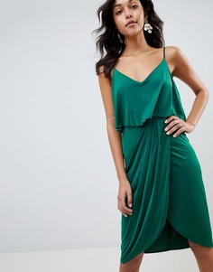 Платье миди с запахом ASOS DESIGN - Зеленый