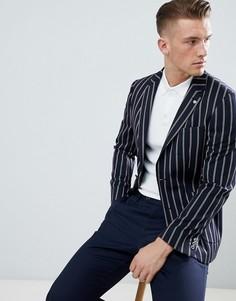 Темно-синий блейзер классического кроя в полоску Burton Menswear - Темно-синий