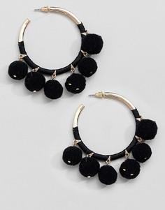 Серьги-кольца с помпонами River Island - Черный
