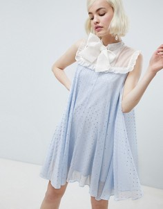 Свободное блестящее платье с бантом Sister Jane - Синий