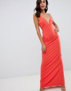 Платье макси с вырезом ASOS DESIGN - Красный