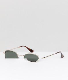 Круглые солнцезащитные очки в золотистой металлической оправе AJ Morgan - Золотой