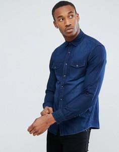 Темно-синяя джинсовая рубашка Celio - Синий
