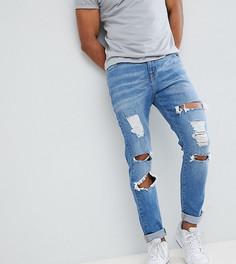 Светлые джинсы скинни с потертой отделкой Brooklyn Supply Co - Синий