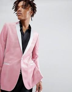 Розовый бархатный блейзер скинни ASOS - Розовый