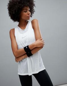 Белая майка с полосками Nike Training Breathe - Белый