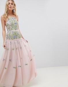 Платье макси с декоративной отделкой ASOS EDITION - Мульти