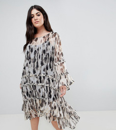 Свободное платье с оборками Religion Plus - Серый