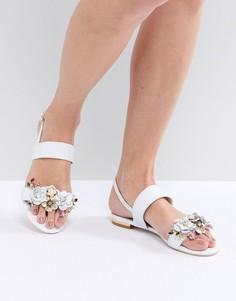 Белые кожаные сандалии из двух частей с цветочной отделкой Dune - Белый