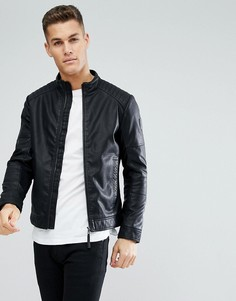 Байкерская куртка из искусственной кожи Tom Tailor - Черный
