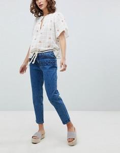 Укороченные джинсы с вышивкой Vanessa Bruno - Синий