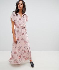 Платье макси с запахом и цветочным принтом Vila - Розовый