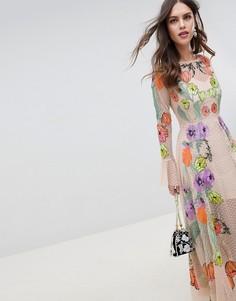 Платье макси с цветочной вышивкой ASOS EDITION - Бежевый