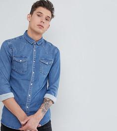 Выбеленная джинсовая рубашка зауженного кроя в стиле вестерн ASOS DESIGN Tall - Синий