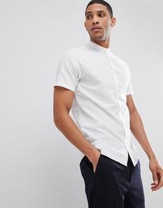 Рубашка с короткими рукавами и воротником-стойкой Selected Homme - Белый