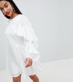 Жаккардовое платье мини с оборками и вырезом на спине ASOS DESIGN Petite - Белый