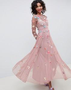Платье макси в горошек с 3D-отделкой ASOS EDITION - Фиолетовый