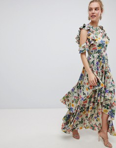 Атласное платье макси с цветочным принтом и асимметричным краем ASOS DESIGN - Мульти