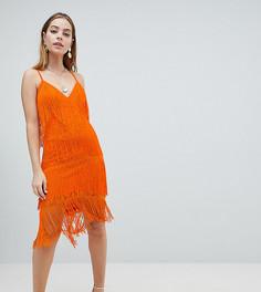 Кружевное облегающее платье миди с бахромой ASOS DESIGN Petite - Оранжевый
