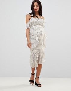 Платье-футляр миди в горошек с оборками ASOS DESIGN Maternity - Белый