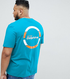 Сине-зеленая удлиненная футболка с принтом Miami Dolphins на спине Majestic PLUS - Зеленый