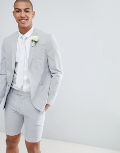 Белый приталенный блейзер в полоску River Island Wedding - Белый