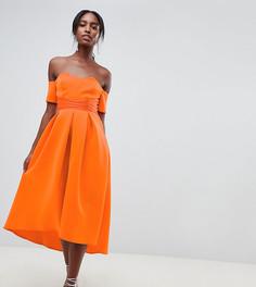 Платье миди для выпускного с широким вырезом ASOS DESIGN Tall - Оранжевый