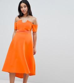 Платье миди для выпускного с широким вырезом ASOS DESIGN Maternity - Оранжевый
