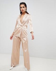 Строгие широкие брюки ASOS DESIGN - Розовый