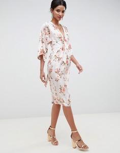 Жаккардовое платье-кимоно миди с цветочным узором ASOS DESIGN - Мульти