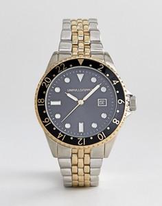Наручные часы в винтажном стиле с окошком с датой ASOS DESIGN - Серебряный