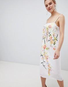 Платье-комбинация миди на бретелях с вышивкой ASOS DESIGN - Темно-синий