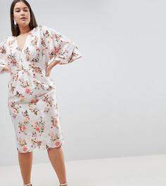 Жаккардовое платье-кимоно миди с цветочным принтом ASOS DESIGN Curve - Мульти