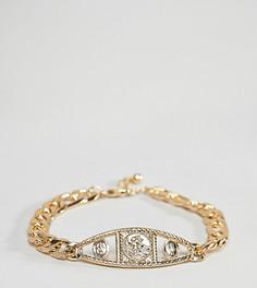 Золотистый браслет-цепочка в винтажном стиле с медальоном ASOS DESIGN Plus - Золотой