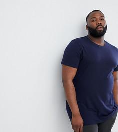 Удлиненная футболка с круглым вырезом ASOS DESIGN Plus - Темно-синий