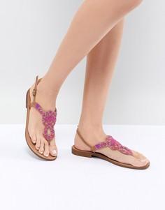 Кожаные сандалии с декоративной отделкой Pieces - Фиолетовый