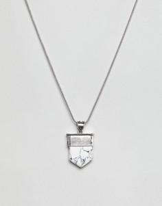 Ожерелье с камнем-подвеской ASOS DESIGN - Серебряный