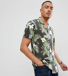 Черная гавайская рубашка классического кроя с отложным воротником ASOS DESIGN Tall - Черный