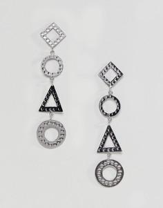 Серьги-подвески геометрической формы ASOS DESIGN - Серебряный
