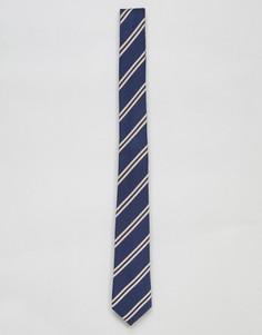 Узкий галстук в полоску ASOS DESIGN - Темно-синий