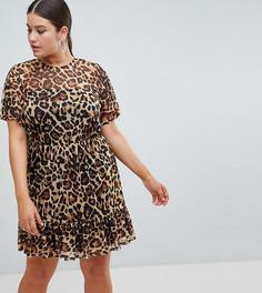 Чайное платье мини с леопардовым принтом ASOS DESIGN Curve - Мульти