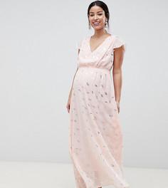 Платье макси с запахом и принтом металлик Mamalicious - Мульти Mama.Licious